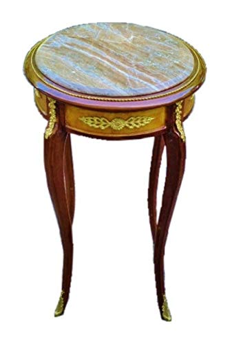 Elegant Marble Brass Louis XV Style Side Table Stand ()