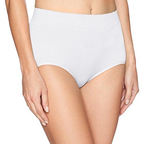 White Scalloped Nylon Panties (Vanity Fair Women's No Pinch-No Show Seamless Brief Panty 13170, Star White, Large/7)