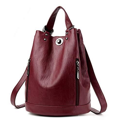 Women Backpack PU Leather Bucket Shoulder Bag Female Travel Bag Back Pack Multifunctional Backpack Black Daypack Burgundy