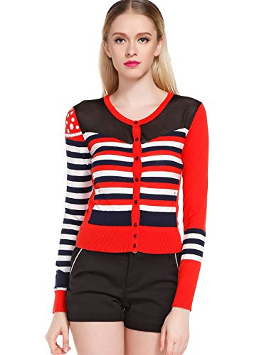 Generic Women's Striped Short Cardigan XX-Small Red by Generic
