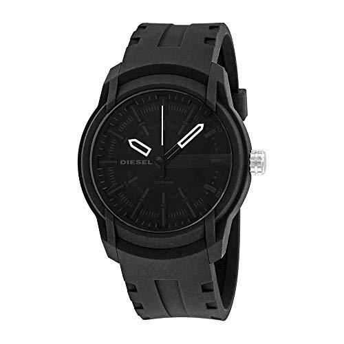 - Diesel Men's Armbar Silicone Casual Watch, Color: Black (Model: DZ1830)