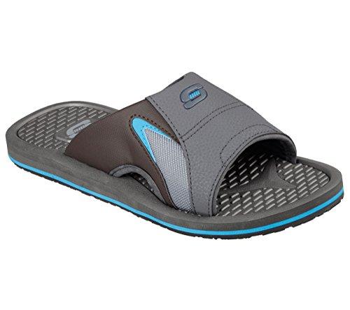 Skechers Magoo Hommes Bout Ouvert Diapositives Bleues Synthétiques Sandale Charbon / Bleu
