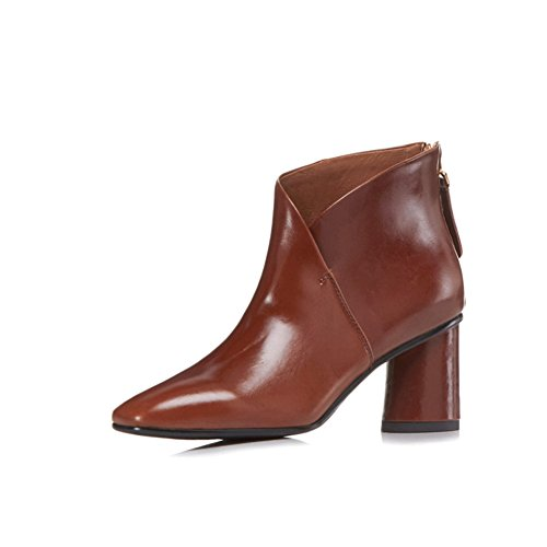 Pointed Nine Elegant Boots Heels Booties Sexy Seven Comfort Handmade Toe Brown Chunky Ankle Dress Women's with I7PIaUr