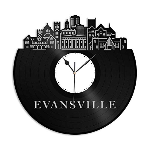 VinylShopUS - Evansville in Vinyl Wall Clock City Skyline Unique Gift Office Home | Bedroom Anniversary Decoration -