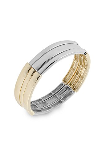 2 Row Stretch Bracelet - Jones New York New Metals Women's 3 Row Metal Stretch Bracelet, 2-Tone, Expandable