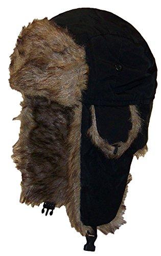 Best Winter Hats Solid Color Nylon Russian/Trapper W/Soft Faux Fur Hat(One Size) - Black