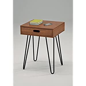 """Dark Oak Finish Side End Table Nighstand Black Metal Legs with One Drawer 24"""" H - Mid-Century Style"""