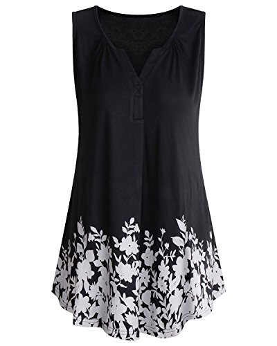 ABYOXI Womens Summer V Neck Pleated Shirts Floral Patterned Casual Sleeveless Blouses and Tops