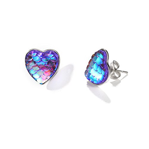 Aganippe Fairytale Mermaid Scales Stud Earrings for Girl Women Jewelry Christmas Day Gift (Style-14)