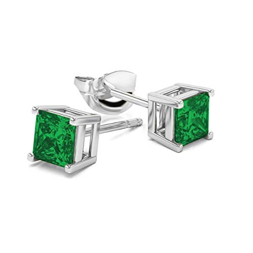 (Womens 925 Sterling Silver 6MM Square Princess Cut Cubic Zirconia Earrings- Princess Cut CZ Basket Setting Earrings For Women and)