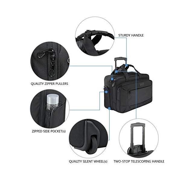 KROSER Mallettes à roulettes pour Ordinateur Portable Sacoche à roulettes pour Ordinateur Jusqu'à 17,3″ Imperméable Porte-Documents à roulettes avec Poches RFID pour Hommes/Femmes Rolling Laptop Bag