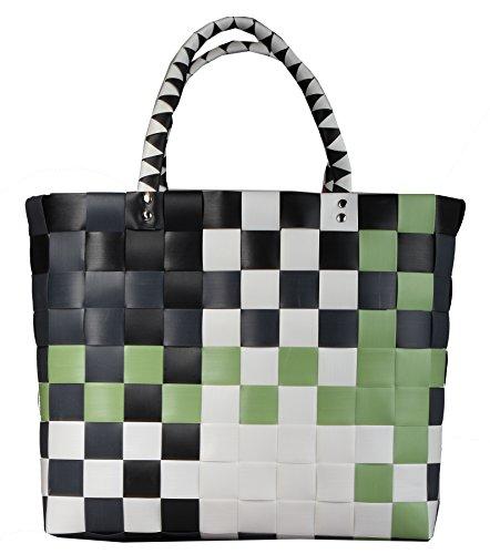 Witzgall Einkaufskorb grün-schwarz-weiß