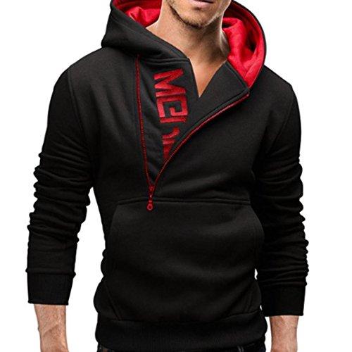 PC Hardware : Sinzelimin Men's Motorcycle Long Sleeve Hoodie Outdoor Hooded Sweatshirt Tops Zip up Jacket Coat Outwear (Black, XXXL)