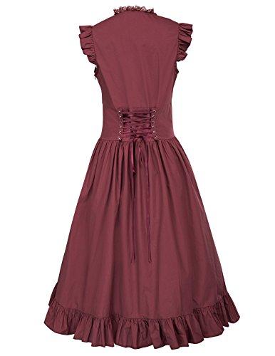 Gothic 3 Poque Bp364 burgundy Damen Corsagenkleid Lang Kleid Kleid Steampunk Belle Schwarz q75xUwa5