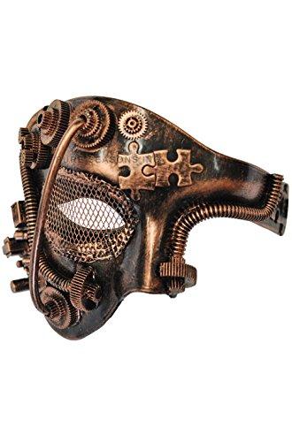 [Mememall Fashion Steampunk Robot Phantom Mardi Gras Masquerade Venetian Mask (Bronze)] (Deluxe Cow Mask)