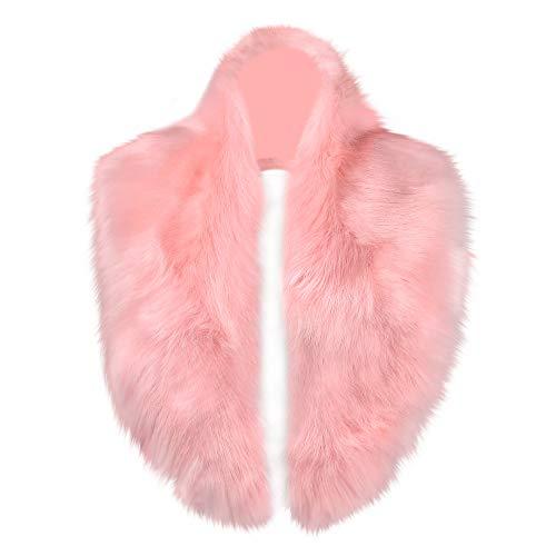 Caracilia Winter Fashion Faux Fox Fur Collar Scarf Collar Women Collar Pink - Leather Faux Buttoned