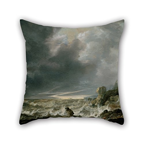 Hsdfnmnsv Oil Painting Vlieger, Simon De - Ship in Distress Off A Rocky Coast Throw Pillow Covers 18 X 18 Inches/Gift Or Decor for Dance Room Dinning Room Lounge Girls Couch