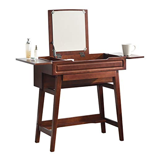 Vlush Vanity Makeup Table with Flip Top Mirror Solid Rubber Wood Dressing Table Writing Desk, 6 Organizers Makeup Accessories & 1 Drawer, Coffee (Vanity Makeup Table Cheap)
