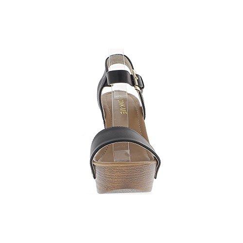 flange di vasta sandali tacco nero similpelle. 12,5 cm