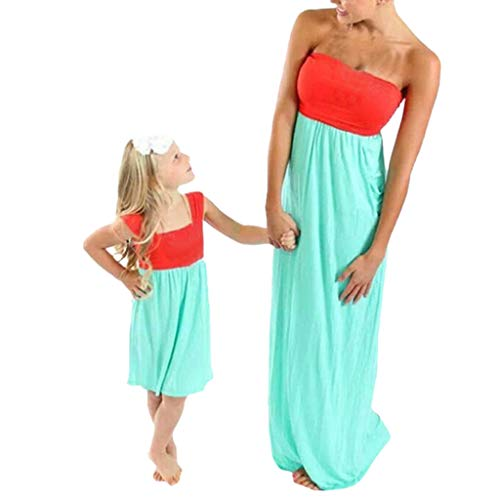 Willow S Mommy&Me Women Summer Sleeveless Open Back Blouse Color Matching Tube Top Splice Clothes Blouse Dress Wine (Best Baby Carrier For Newborn Uk)