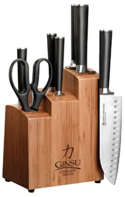 Ginsu Chikara Stainless Steel Knife Set with Bamboo Block