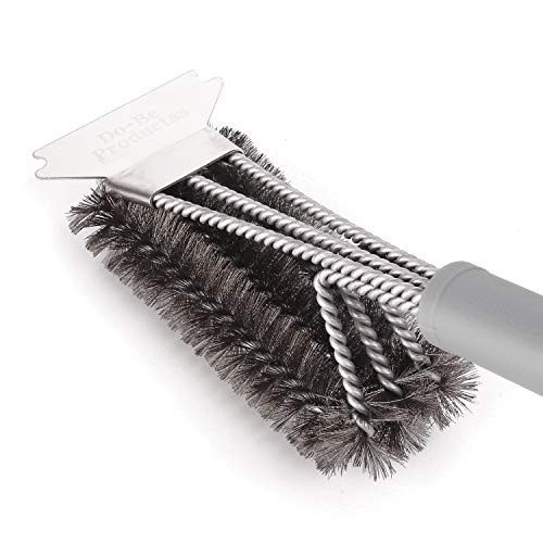 (Best BBQ Brush and Grill Scraper,Unique 3 in 1 Bristles Guarantee 100% Rust Resistant Stainless Cleaning Brush - Safe For Porcelain, Ceramic,Steel,Iron-Great Grilling Accessories Gift,Gray)