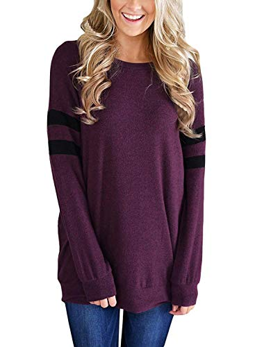 Queadura Womens Casual Long Sleeve Round Neck Lightweight Sweatshirt Loose Pullover Tunic Tops ()