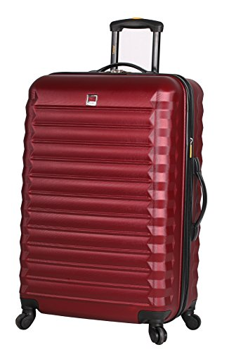 Lucas ABS Mid Size Hard Case 24 inch Rolling Suitcase With Spinner Wheels (24in, Burgundy) (Best Mid Sized Suitcase)