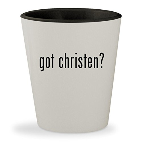 got christen? - White Outer & Black Inner Ceramic 1.5oz Shot Glass - Sarah Louise Hat