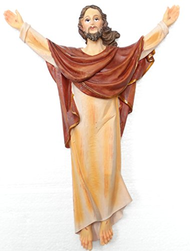 Risen Christ Wall Plaque Fiberglass Poliresin Includes a Blessed Prayer ()