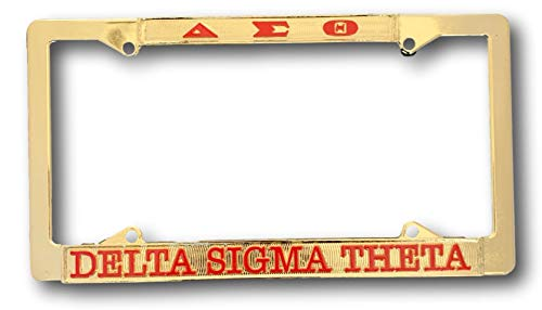 (Delta Sigma Theta Sorority Chrome Gold License Plate Frame)