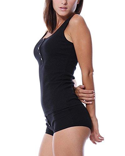 KalvonFu Women's Modal Sleepwear Sleeveless Pajama Set Tank Top and Shorts (XL, Black)