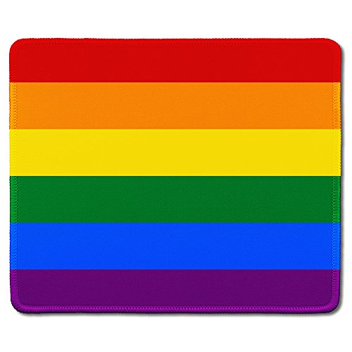 Rainbow Optical Mouse - dealzEpic - Art Mousepad - Natural Rubber Mouse Pad Printed with Gay Pride Rainbow Flag - Stitched Edges - 9.5x7.9 inches