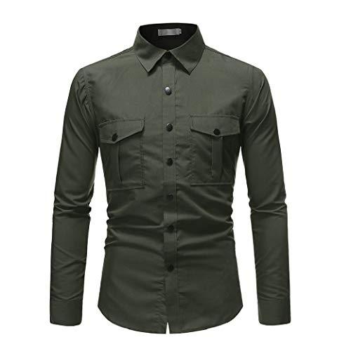 HEFASDM Men's Stitching Flap Pockets Camisas de vestido clássico de cor sólida de manga Army Green M