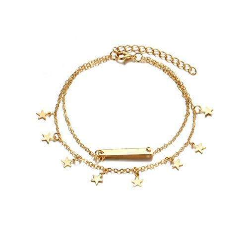 - LANG XUAN Bar Boho Foot Chain Gold Star Adjustable Beach Layer Anklet for Women
