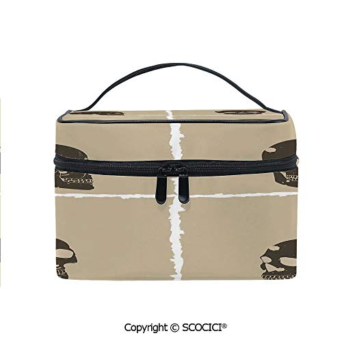 Printed Durable Portable Travel Cosmetic Bags Skull Figure on Murky Flat Framework Halloween Crossbones Spooky Monster Image with Mesh Pocket Women Make Up Bags]()