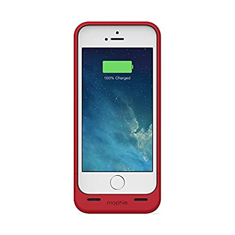 mophie juice pack Plus for iPhone 5/5s/5se (2,100mAh) - Red (A Charging Iphone 5 Case)