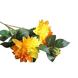 Simulation,Beautiful Color,Easy to Maintain,Decorative 1Pc Romantic Artificial Dahlia Flower Fake Plant Garden Wedding Party Decor - Orange 58