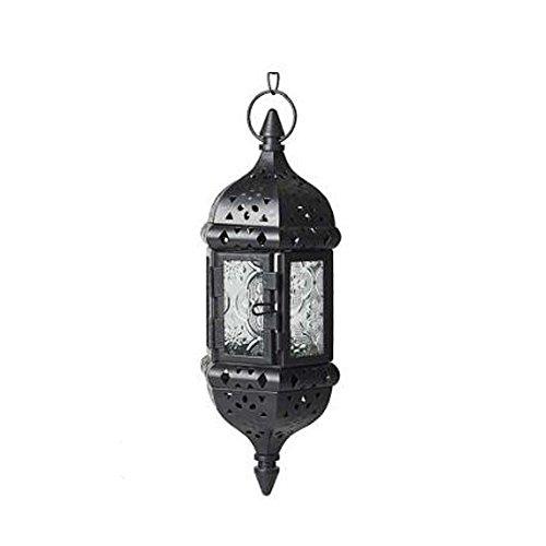 LANLONG Moroccan Vintage Metal Hollow Wedding Hanging Candle Holders Lantern| Contain 40cm Chain (black) ()