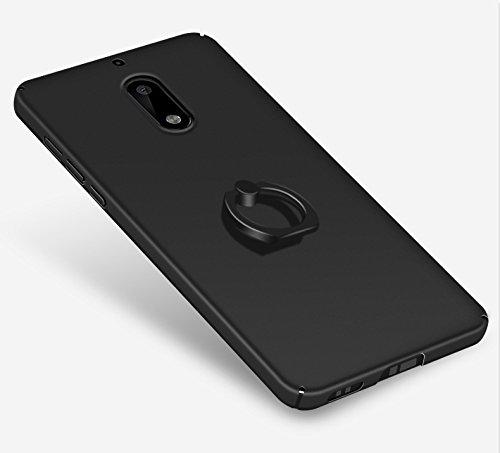 Nokia 6 Funda,color sólido,estilo sencillo,Alta Calidad Ultra Slim Anti-Rasguño y Resistente Huellas Dactilares Totalmente Protectora Caso de Plástico Duro Cover Case+stand holder(RG20) E