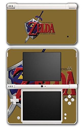 Legend of Zelda Link Ocarina of Time Gold Logo Master Sword Hylian Shield Video Game Vinyl Decal Skin Sticker Cover for Nintendo DSi XL System (Legend Of Zelda Ocarina Of Time Hylian Shield)
