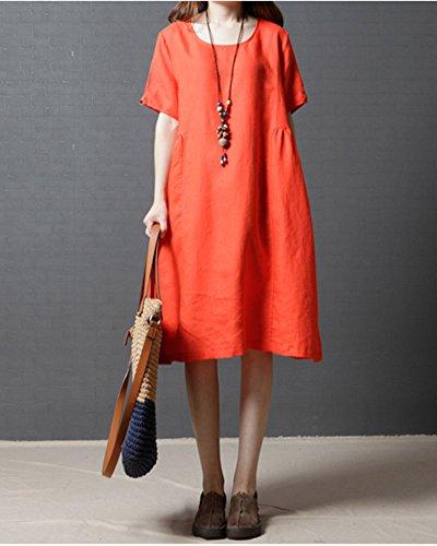 Courte Taille Col GladiolusA Robe Femme Grande Lin En Unie Couleur Orange Longue Rond Manches Ample Tunique fXUqfa