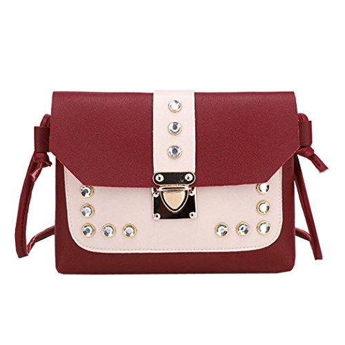 RED Rhinestone Tote Color Bag Womens Square Crossbody Bag Hit Shoulder Bafaretk Messenger q87Pxgt1ww