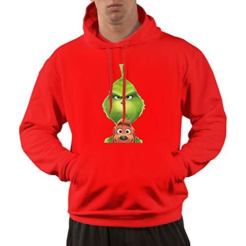 b2e5e3a1a6ab74 Re-emerwm Men Fashion Walk Pocket Hoodies Printed with Cute Grinch with Dog  S Red
