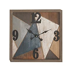 Deco 79 94627 Analog Wood and Metal Wall Clock, Brown/White/Bluegreen