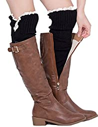 Dimore Plus Size Button Leg Warmers Boot Cuffs for Boots Knit Leg Warmers with Lace Crochet Black