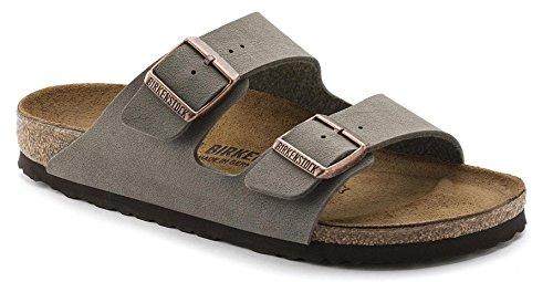 Birkenstock Arizona 2-Strap Women's Sandals in Stone Birko-Flor, Narrow Width, 37 N EU - 6-6.5 US Women
