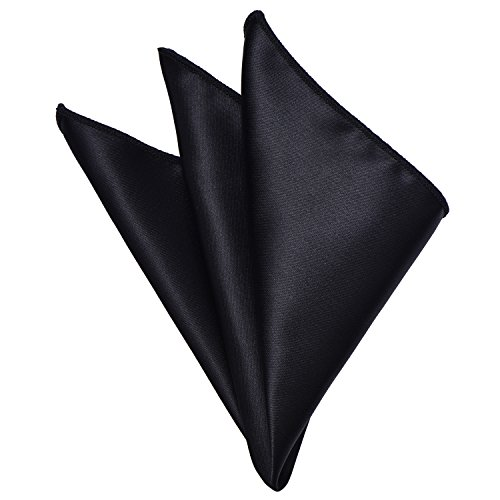 - Mens Pocket Square Black Solid Color Handkerchiefs Classic Scarf by YAKEE LEMON
