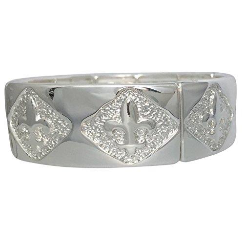 Fleur De Lis Smooth & Textured Designer Look Stretch Bracelet