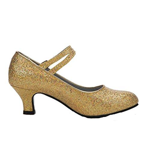 Flash Dance Latin Costumes (Women's Adult Summer Latin Dance Middle Heel Social Dance Flash Gold Sequins Ballroom Dance Shoes,Gold-38)